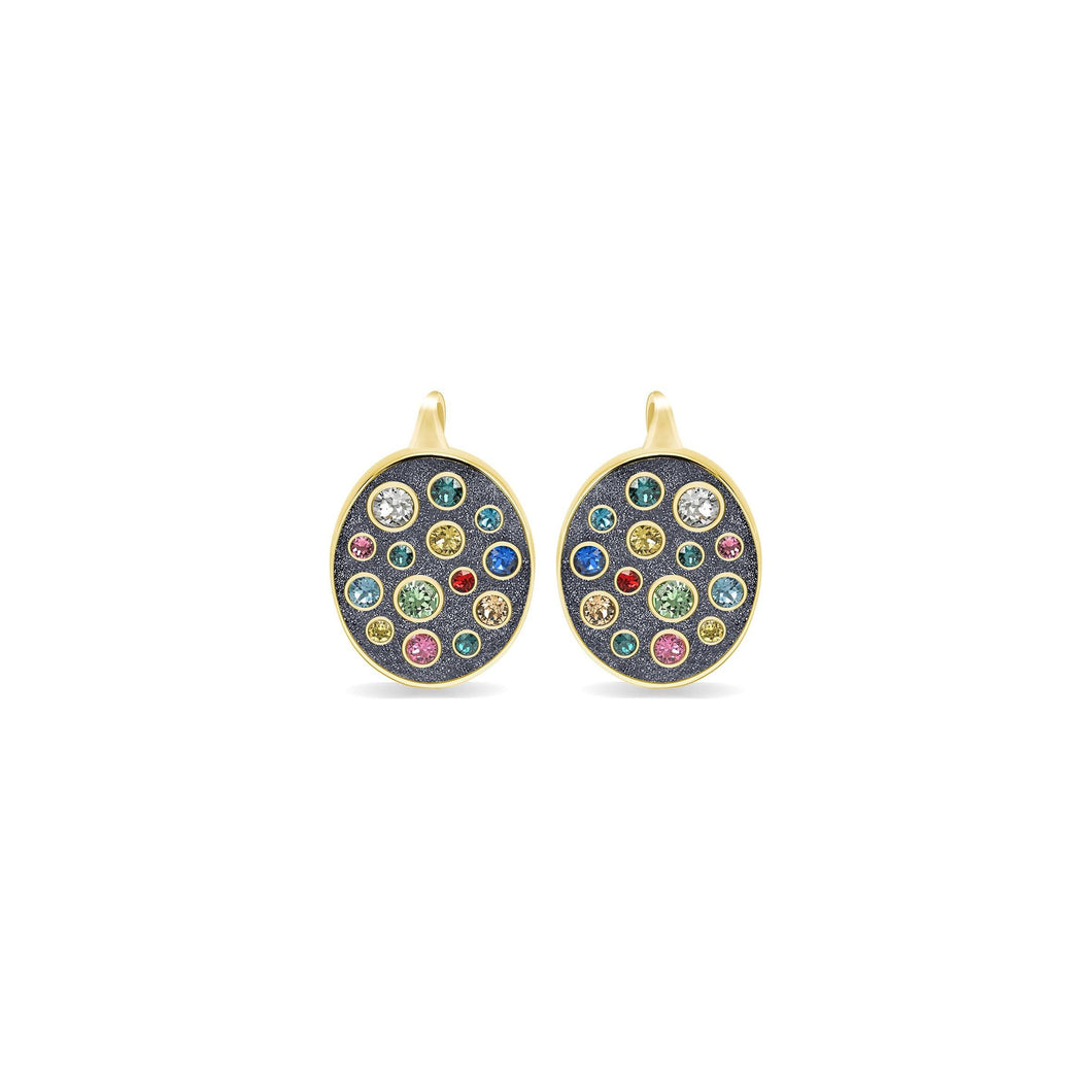Grey Glitter Oval Earrings earrings SBS Capri 18 Kt Gold