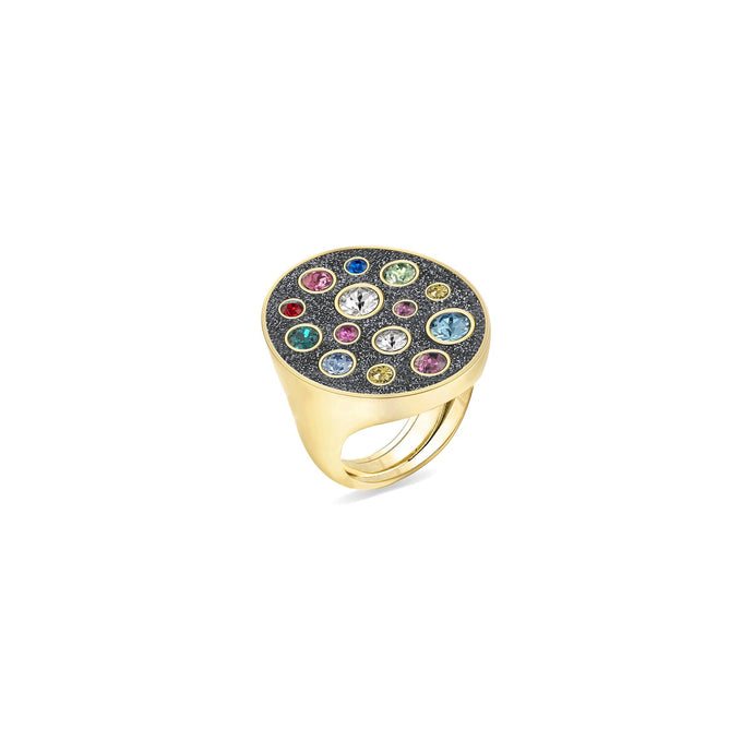 Grey Glitter Oval Ring ring SBS Capri 18 Kt Gold