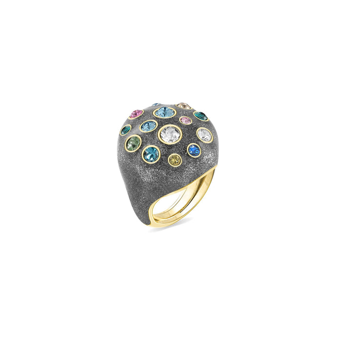 Grey Glitter Pumped Octagonal Ring ring SBS Capri 18 Kt Gold