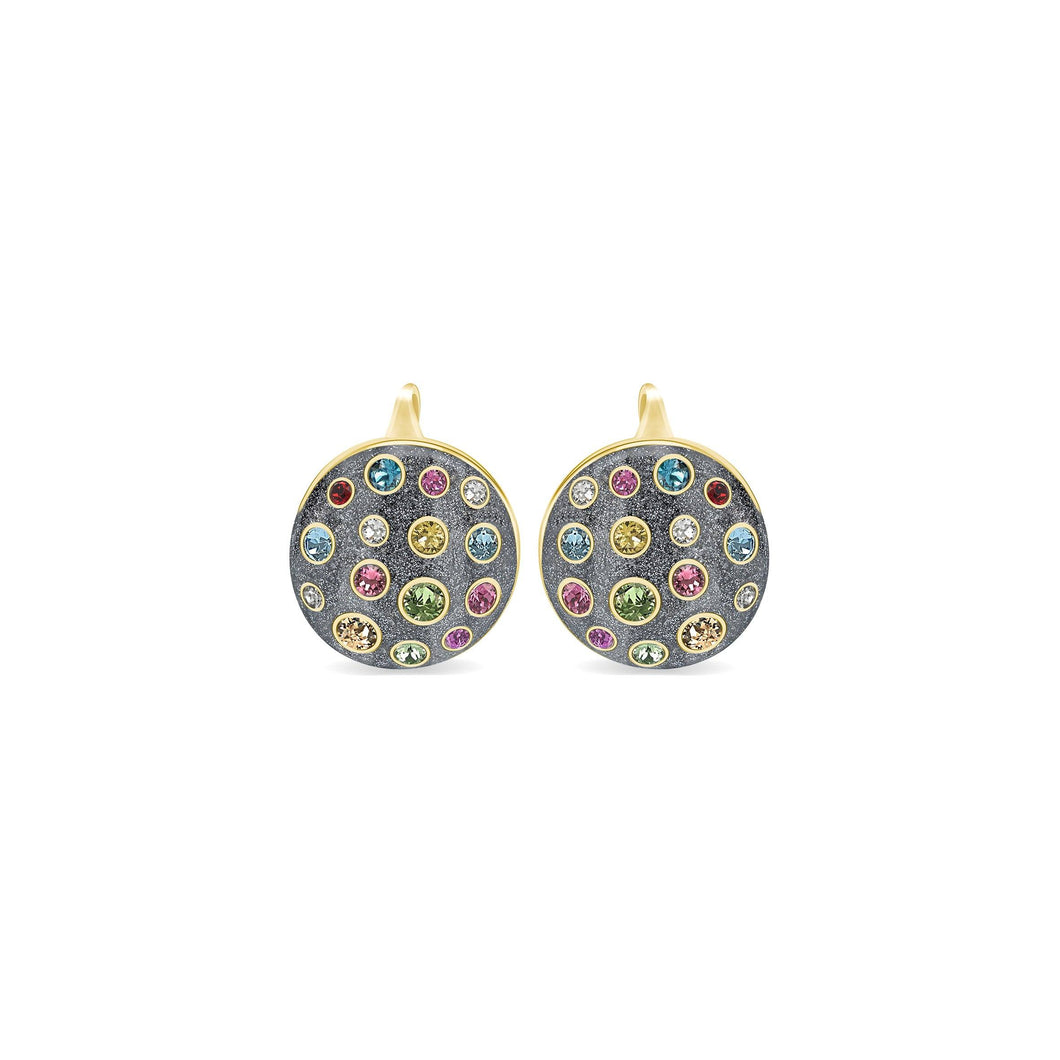 Grey Glitter Pumped Round Earrings earrings SBS Capri 18 Kt Gold