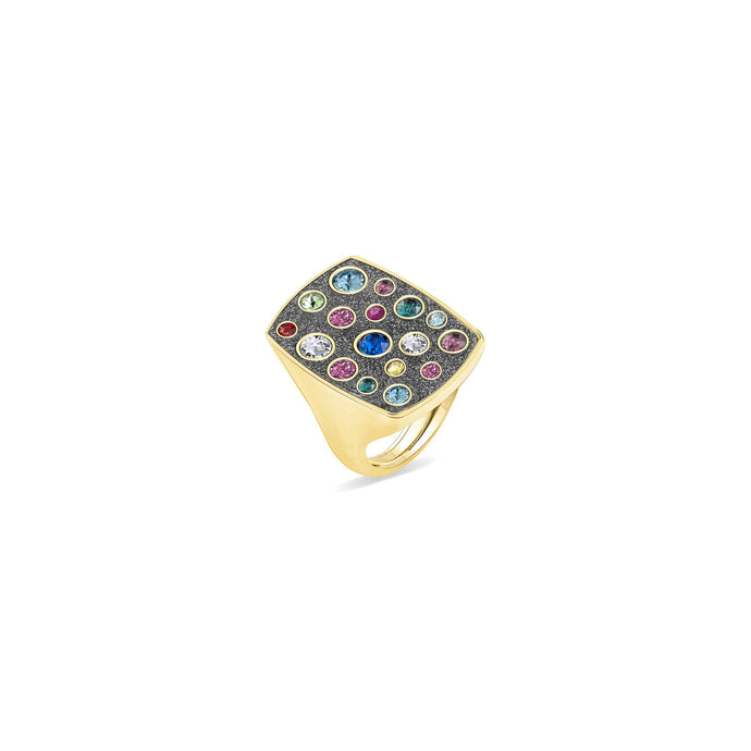 Grey Glitter Rectangular Ring ring SBS Capri 18 Kt Gold