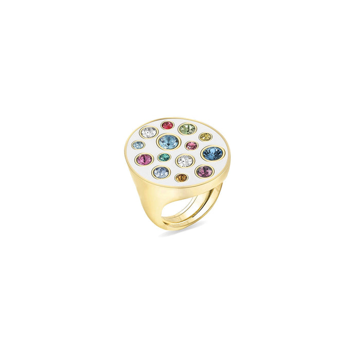 White Enamel Oval Ring ring SBS Capri 18 Kt Gold