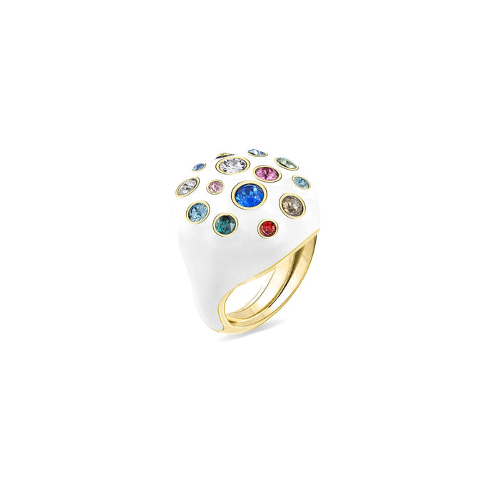White Enamel Pumped Octagonal Ring ring SBS Capri 18 Kt Gold