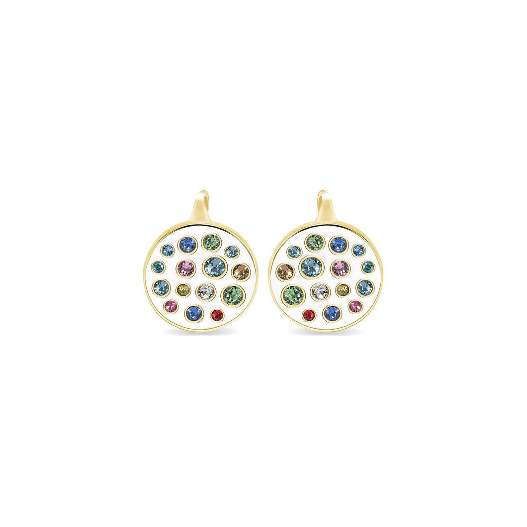 White Enamel Round Earrings earrings SBS Capri 18 Kt Gold