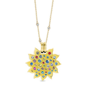 Yellow Enamel Maxi Pumped Sun Pendant pendant SBS Capri 18 Kt Gold No Chain