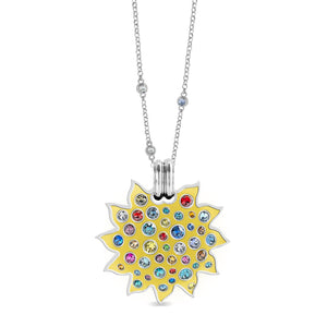 Yellow Enamel Maxi Pumped Sun Pendant pendant SBS Capri Rhodium No Chain