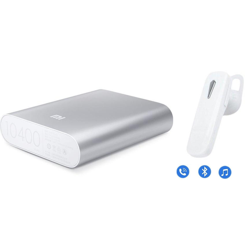 MI 10400mAh Powerbank + Universal Bluetooth Headset