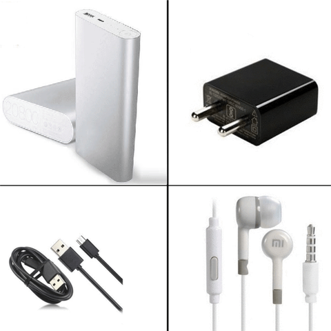 MI 20800mAh Powerbank + MI EarPhone + 2Amp Charger + Fast Charge USB Cable
