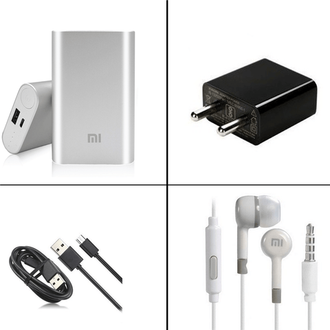 MI 10000mAh Powerbank + MI EarPhone + 2Amp Charger + Fast Charge USB Cable