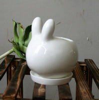 Lovely Rabbit White Ceramic Planter