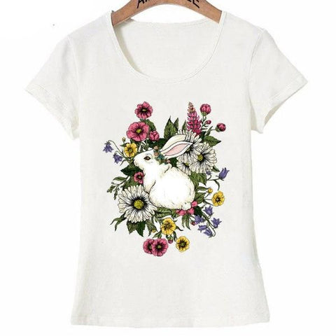 Summer Rabbit In Flowers design fashion T-Shirt