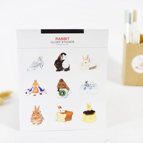 Beautiful funny bunny sticker set