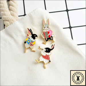 3Pc Rabbit Buskers Brooches Set By Elizabeth Jewelry