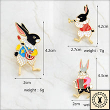 Load image into Gallery viewer, 3Pc Rabbit Buskers Brooches Set By Elizabeth Jewelry