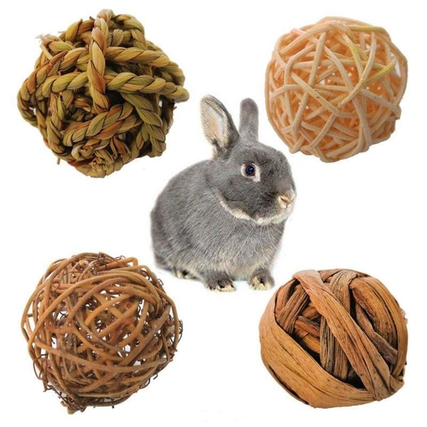 4Pcs Natural Small Animal Activity Chew Toys For Rabbits