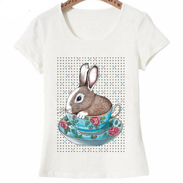 Tea-cup bunny design fashion T-Shirt