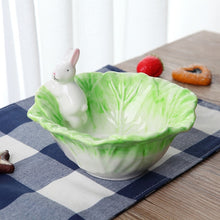 Load image into Gallery viewer, Ceramic Rabbit Bowl + Spoon - Cabbage Design