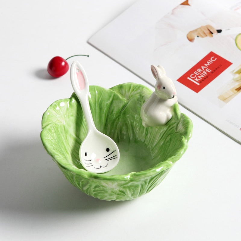 Ceramic Rabbit Bowl + Spoon - Cabbage Design