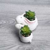 Cute Rabbits Flowerpot Small Ceramic Planters