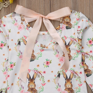 Beautiful Rabbit Print Long Sleeve Romper 0-24M