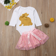 Load image into Gallery viewer, Toddler Baby Girls Rabbit Romper Top +Tutu Skirt Outfit (2Pcs)