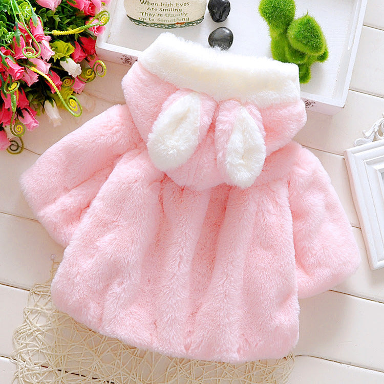 Winter Thick & Warm Rabbit Ears Hooded Coat for Kids