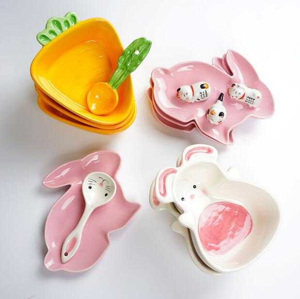 Rabbit dishes, Carrot bowl, Tableware set