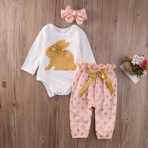 Rabbit Print Pink/White Baby Outfit Set