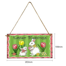 Load image into Gallery viewer, Happy Easter Sign Wooden Rabbit Flower Hanging Decoration Sign Easter Party Festival Wall Door Art Home decoration