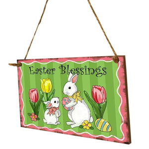 Happy Easter Sign Wooden Rabbit Flower Hanging Decoration Sign Easter Party Festival Wall Door Art Home decoration