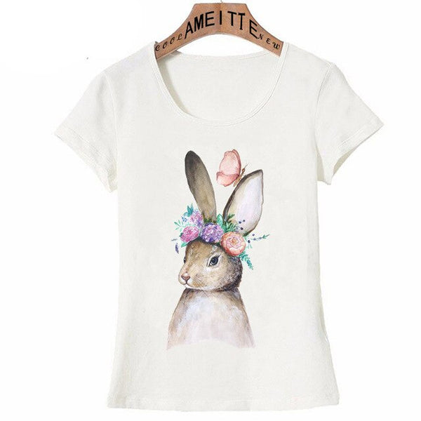 Bunny with Butterfly Flowers Watercolor Print T-Shirt