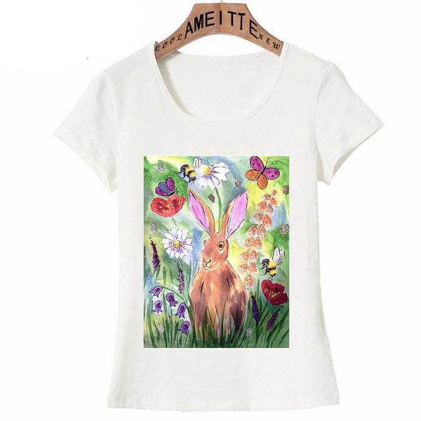 Bunny in Flowers Print T-Shirt