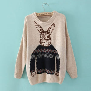Long Sleeve Womens Rabbit  Sweater