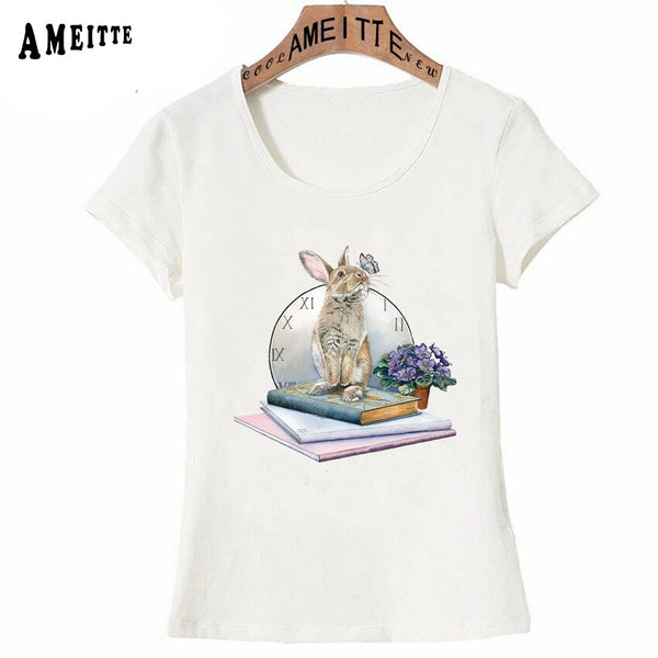 Rabbit Butterfly Kisses Print T-Shirt