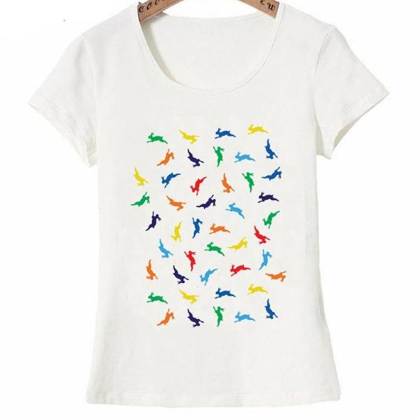 Colorful Rainbow Rabbit design fashion T-Shirt for Women by SHOPBUNNIES©
