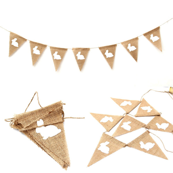Hessian/Burlap Happy Rabbit Hanging Bunting Garland Decoration