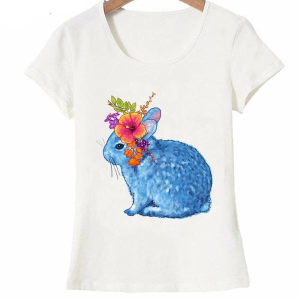 Pretty Flower Blue bunny design fashion T-Shirt
