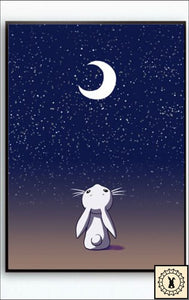 Animals In The Night Sky Canvas Print. 5 Inch X 7 / Moon