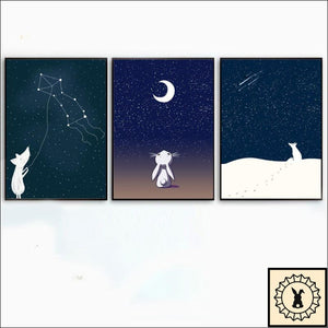 Animals In The Night Sky Canvas Print. 5 Inch X 7 / Set