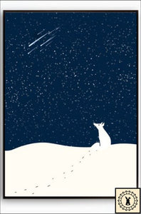 Animals In The Night Sky Canvas Print. 5 Inch X 7 / Shooting Stars