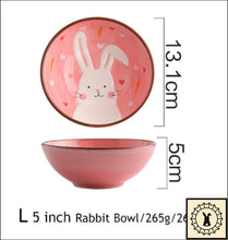 Load image into Gallery viewer, Ceramic Tableware Set. 5 Inch Rabbit Bowl.