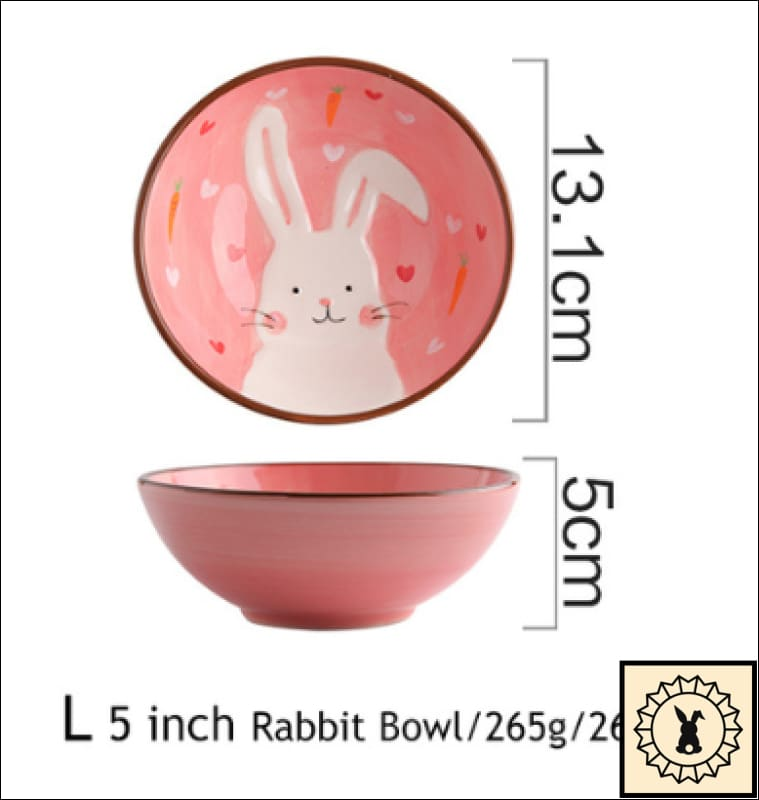 Ceramic Tableware Set. 5 Inch Rabbit Bowl.