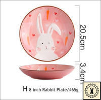 Ceramic Tableware Set. 8 Inch Rabbit Plate.