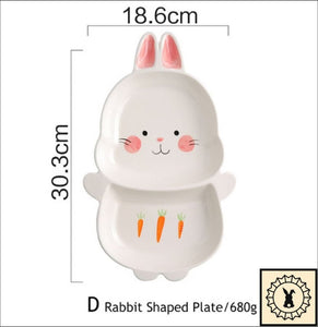Ceramic Tableware Set. Rabbit Shaped Plate.