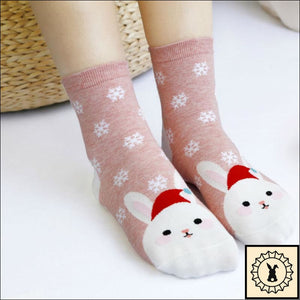 Christmas Cartoon Rabbit Socks.