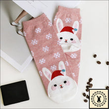 Load image into Gallery viewer, Christmas Cartoon Rabbit Socks.