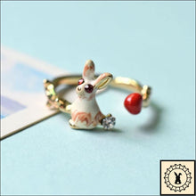 Load image into Gallery viewer, Enamel Glazed Gold Plated White Rabbit Ring.