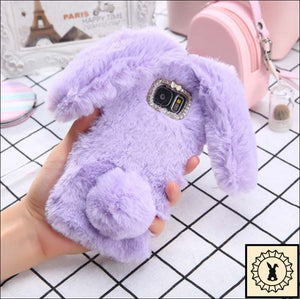 Fluffy Faux-Fur Phone Case For Samsung + Iphone. Purple / S6 Edge