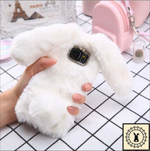 Load image into Gallery viewer, Fluffy Faux-Fur Phone Case For Samsung + Iphone. White / S6 Edge