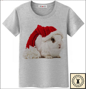 Funny Christmas Rabbit T-Shirt By Bgtomato© Small. / Grey.